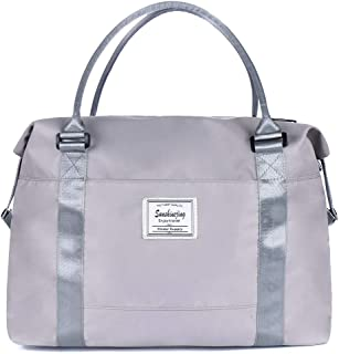 Womens Travel Weekender carry on Bags Men Sports Gym Workout Duffel Bag with Trolley Sleeve (Silver Grey)