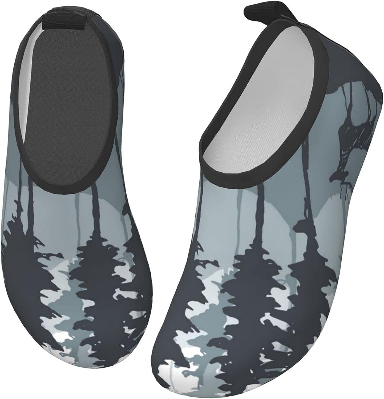 Bluebluesky Forest Pine Tree Deer Kids Swim Water Shoes, Non-Slip Quick Dry Barefoot Aqua Pool Socks Shoes for Boys & Girls Toddler