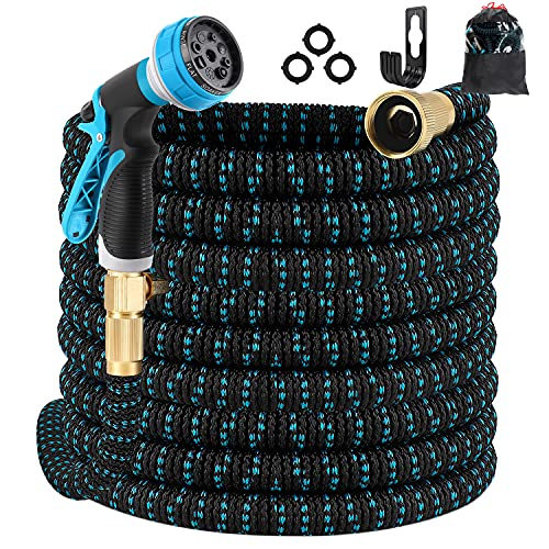 Best retractable hose - Gpeng Expandable Garden Hose 100ft Water Hose with 8 Function Spray Nozzle, Kink Free Flexible Hose with Solid Brass Fittings, Extra Strength Durable Lightweight Expanding Yard Hose Wash Hose Pipe