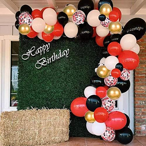 125pcs oro nero rosso coriandoli palloncino arco ghirlanda kit - oro bianco nero rosso coriandoli palloncini per laurea, Capodanno, festa di matrimonio, compleanno baby shower decorazioni