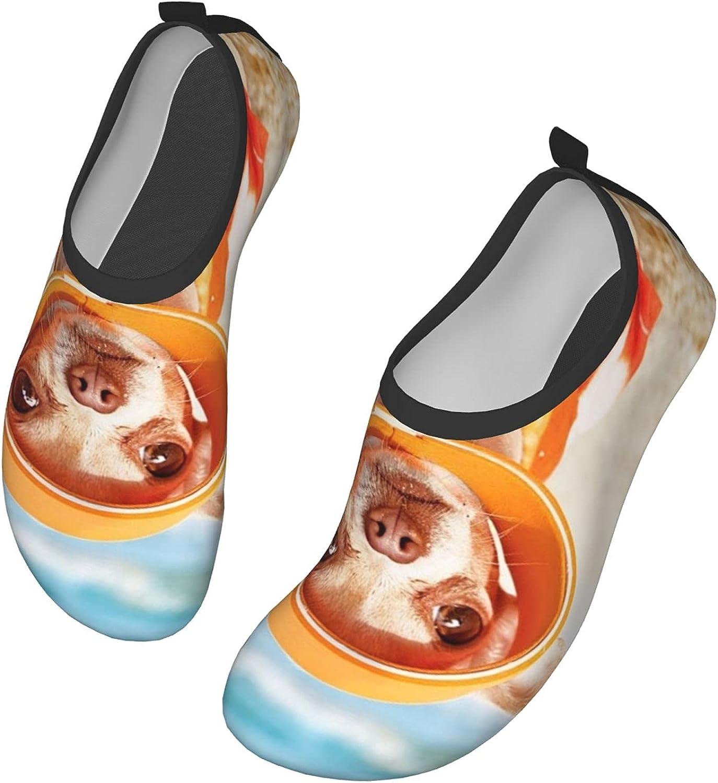 Chihuahua Wearing A Hawaiian Shirt Stood On A Beach Water Shoes Swim Wading Shoes Barefoot Aqua Socks Shoes for Women Men Beach Pool Surfing