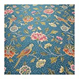Stoff am Stück Stoff Polyester Gobelin blau Papagei Blume
