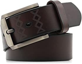 Man Leather Belt Needle Buckle Business Casual Wear Belt Fashion (Color : Coffee, Size : M)