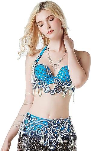 DRESSS Costume de Danse du Ventre de Dentelle, Costume de vêtements de Perforhommece en Deux pièces de Soutien-Gorge perlé de Diahommet de Couleur