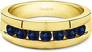 TwoBirch 0.74 Ct. Channel Set Men's Ring with Open End Design In 14K Gold With Sapphire