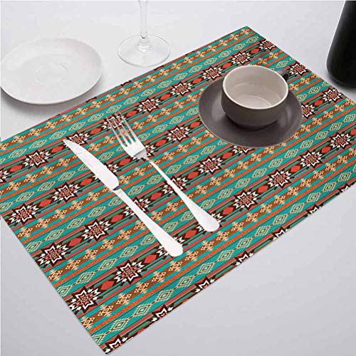 Non-Slip Heat Resistant Dining Table Placemats, Native American Floral and Geometric Tribal Cult, for Party Kitchen Dining Decorations, Set of 8