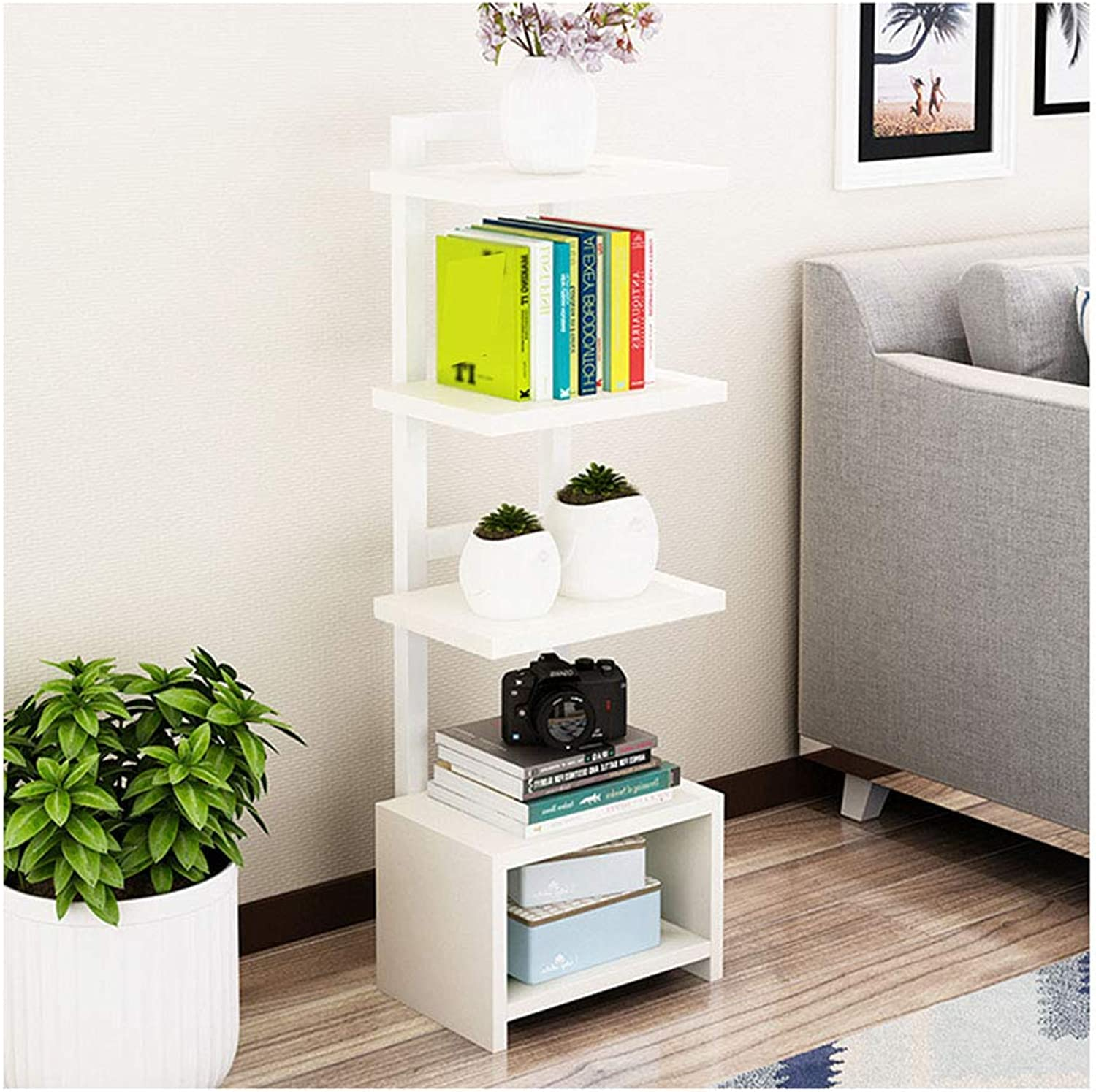 DGLIYJ Floor-standing bookshelf simple home flower rack living room storage rack 5 layers (color   White)