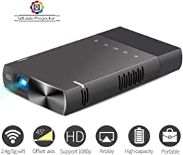 Mini Projector 1080p Supported HD DLP LED Rechargeable Portable Projector Compatible with TV Stick/PS4/HDMI/USB/TF/SD Card Supports iPhone/Android/Laptop PC etc
