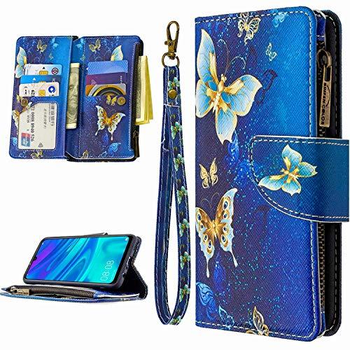 Miagon 9 Kartensteckplätzen Lederhülle für Samsung Galaxy A71,Bunt Reißverschluss Flip Hülle Wallet Case Handyhülle PU Leder Tasche Schutzhülle,Gold Schmetterling