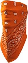 My Skull Store Orange Paisley Adjustable Close Bandanna Mask Face Cover Reversible Dust, Bug Mask, Sun and Exhaust Protection, Motorcycle ATV Rider Hand Made