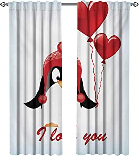 shenglv Valentines, Curtains Printed, Happy Birthday Balloons I Love You Lettering Cute Funny Penguin Image, Curtains Living Room, W84 x L96 Inch, Red Black Baby Blue