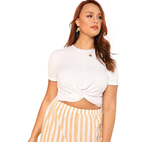 e7bcb6937ee Romwe Women s Front Twist Short Sleeve Plus Size Crop T-Shirt Tops Blouse