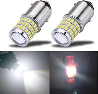 iBrightstar Newest 9-30V Super Bright Low Power 1157 2057 2357 7528 BAY15D LED Bulbs with Projector Replacement for Back Up Reverse Lights or Tail Brake Lights,Xenon White(6500K)
