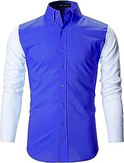 DEELMO Men's Cotton Casual Fancy Shirt for Men Full Sleeves