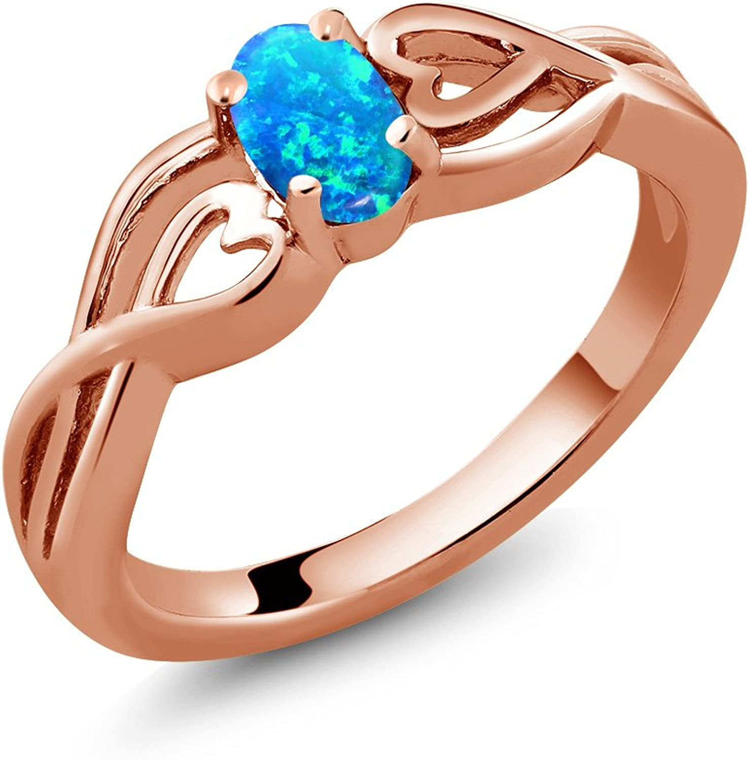 Gem Stone King 0.50 Ct Oval Cabochon bluee Simulated Opal 18K pink gold Plated Silver Ring (Available 5,6,7,8,9)
