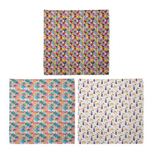 ABAKUHAUS Unisex Bandana, Gummibärchen für Kinder Tile Boho Regenbogen-Farben Schwangere Frauen stehen, 3er Pack, Mehrfarbig