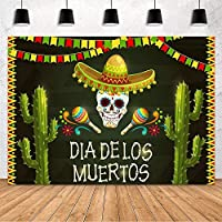 APANDia De LosMuertosパーティーデコレーション背景メキシコのフィエスタスカルフラワーサボテンマリーゴールドパーティー写真背景スタジオ小道具バナービニール10x7ft