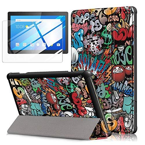 LJSM Funda + Protector Pantalla para Lenovo Tab M10 TB-X605F / TB-X505F 10.1' - Vidrio Templado, Carcasa Silicona Smart Cover con Soporte Función Caso PU Flip Case - Graffiti