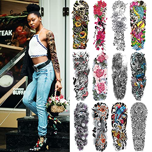 Full Arm Temporary Tattoos for Men Women,12 Sheets Large Sleeve Tattoos,Realistic Fake Tattoo Sticker Waterproof and Long Lasting