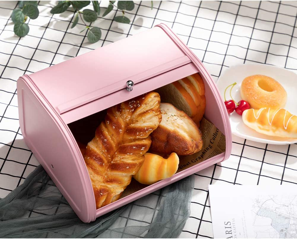 PARANTA Bread Box Bin For Kitchen Counter Extra Large Farmhouse with Stainless Steel Roll Up Lid For Easy Kitchen Counter Storage Bread Bin Holder Pink 12.01 x 10.24 x 6.89