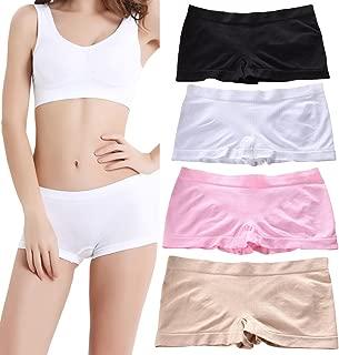 Women's Boyshort Panties Seamless Sports Yoga Panty Nylon Breathable Boxer Briefs 4 Pack