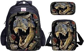 Juego de mochila y bolsa de almuerzo con diseño de dinosaurio para niños, mochila bandolera y estuche