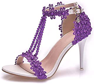 ZMYC Bridal Wedding High Heel Sandals Shoes, 9CM Word Buckle with Roman Shoes Wedding Shoes Lace Flowers Wedding Pumps Sho...
