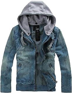 Jmwss QD Men Denim Distressed Jacket Button Down Trucker Jacket Jean Coat