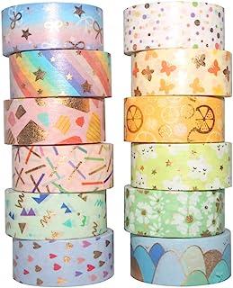 Yubbaex マスキングテープ 金箔押し春の香可愛いデザイン 15mm幅 x 12巻 (春の花 12巻)
