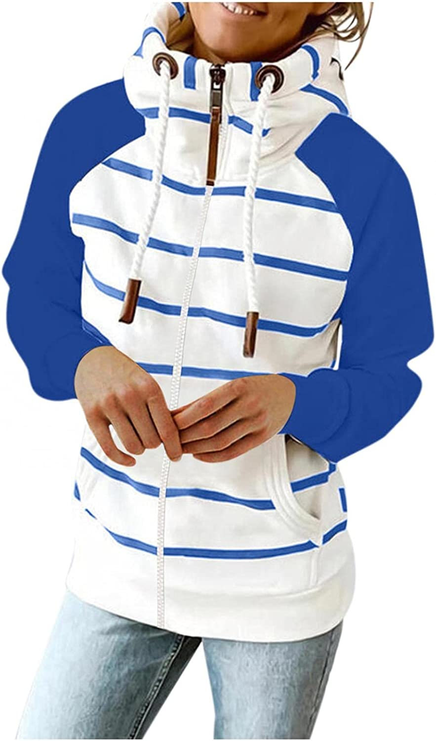 Gibobby Hoodies for Women Pullover Fashion Warm Fall Oversized Sweatshirts Striped Printing Long Sleeve Drawstring Hooded