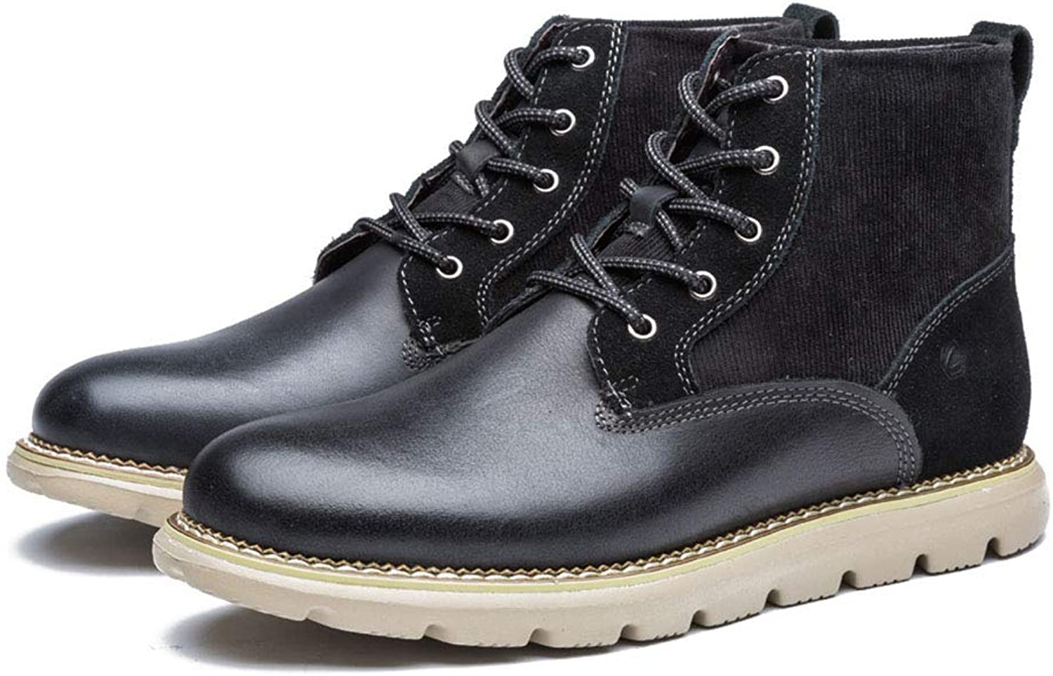 Men's Martin Boots Fashion Comfortable Leather Boots Winter Plus Velvet Lace-up Booties Ankle Boots (color   A, Size   43)