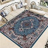 Xiaosua alfombras Online Azul Alfombra de Sala de Estar Azul Oscuro geométrico diseño Vintage antigmal Alfombra Antideslizante Alfombra Silla Gaming 100x200cm moqueta 3ft 3.4''X6ft 6.7''