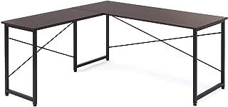 サンワダイレクト パソコンデスク L字型 木製 幅150cm+90cm コーナーデスク ダークブラウン 100-DESKH011BR