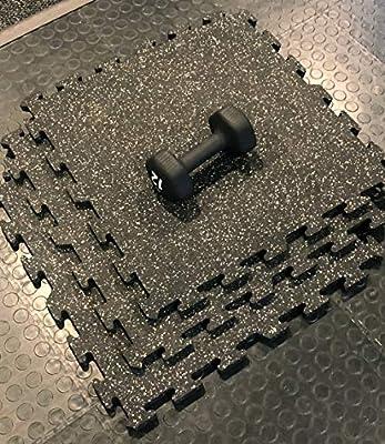 American Floor Mats - 1/2 Inch Thick Warrior Gym Rubber Flooring - Interlocking Rubber Tiles Solid Black - Single Corner Tile
