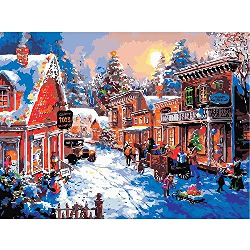 SDHJMT Anfänger Malen nach Zahlen Kit Bild-Wanddekoration der Snowy-Straßenzusammenfassungs-Ölfarbe Digitale Leinwand DIY ölgemälde 16x20inch