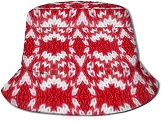 Be-ryl Gorra para el Sol Volumen sin Costuras Imagen a Cuadros Patrón Rojo Cubo Sombrero para el Sol Protección Packable Summer Fisherman Cap