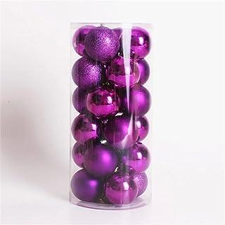 VORCOOL 24 Pcs Paquete de Tema Decorativo exquisitos Adornos de Bolas de Navidad para la decoración del árbol decoración Bola (púrpura)