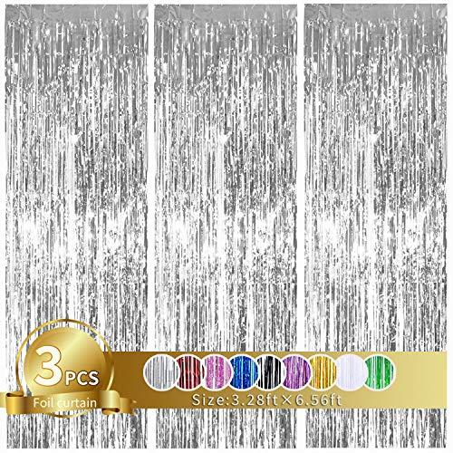 3 Stück Silber Metallic Lametta Vorhänge,Tinsel Folie Vorhang Folienfransen Vorhang für Hochzeit Verlobung Brautdusche Geburtstag Bachelorette Party Bühnendekor