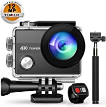 TENKER 4K Action Camera, WiFi 12MP Waterproof Sport Camera 170 Degree Wide View Angle 2.4G Remote Control 2 Rechargeable Underwater Cam Batteries and Kit of Accessories