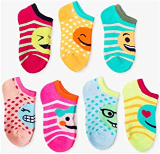 a480f056893 Cat   Jack Girls 7-Pack Casual Fashion Ankle No Show Socks Multi Emoji