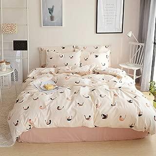 VM VOUGEMARKET Birds Duvet Cover Set Queen,3 Pieces Cotton Girls Cute Love Bird Duvet Cover with 2 Pillowcases,Lightweight Luxury Bedding Set -Full/Queen,Love Birds