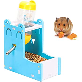 2 in 1 Hamster Hanging Water Bottle Pet Auto Dispenser with Base for Hamster Rat Gerbil Mouse Guinea Pig