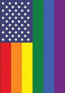 Toland Home Garden Patriotic Pride 12.5 x 18 Inch Decorative Gay Lesbian Rainbow Support America Garden Flag