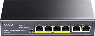 Cudy FS1006P 6ポート10 / 100M PoE+ ハブ 60W、4 PoE +ポート(それぞれ最大32W電力)合計60W PoE電力、CCTVモード(10Mbpsで最大250mの伝送距離)、VLAN分離、ファンレス、±4KVサージ保護、スチールケース、PoE +スイッチ、 5年保証