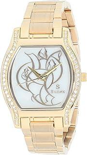 ساعة ستانلس ستيل مربعة انالوج بعقارب مزينة بفصوص ومينا مزخرفة للنساء من صنيكس S0369-IPG-W - ذهبي