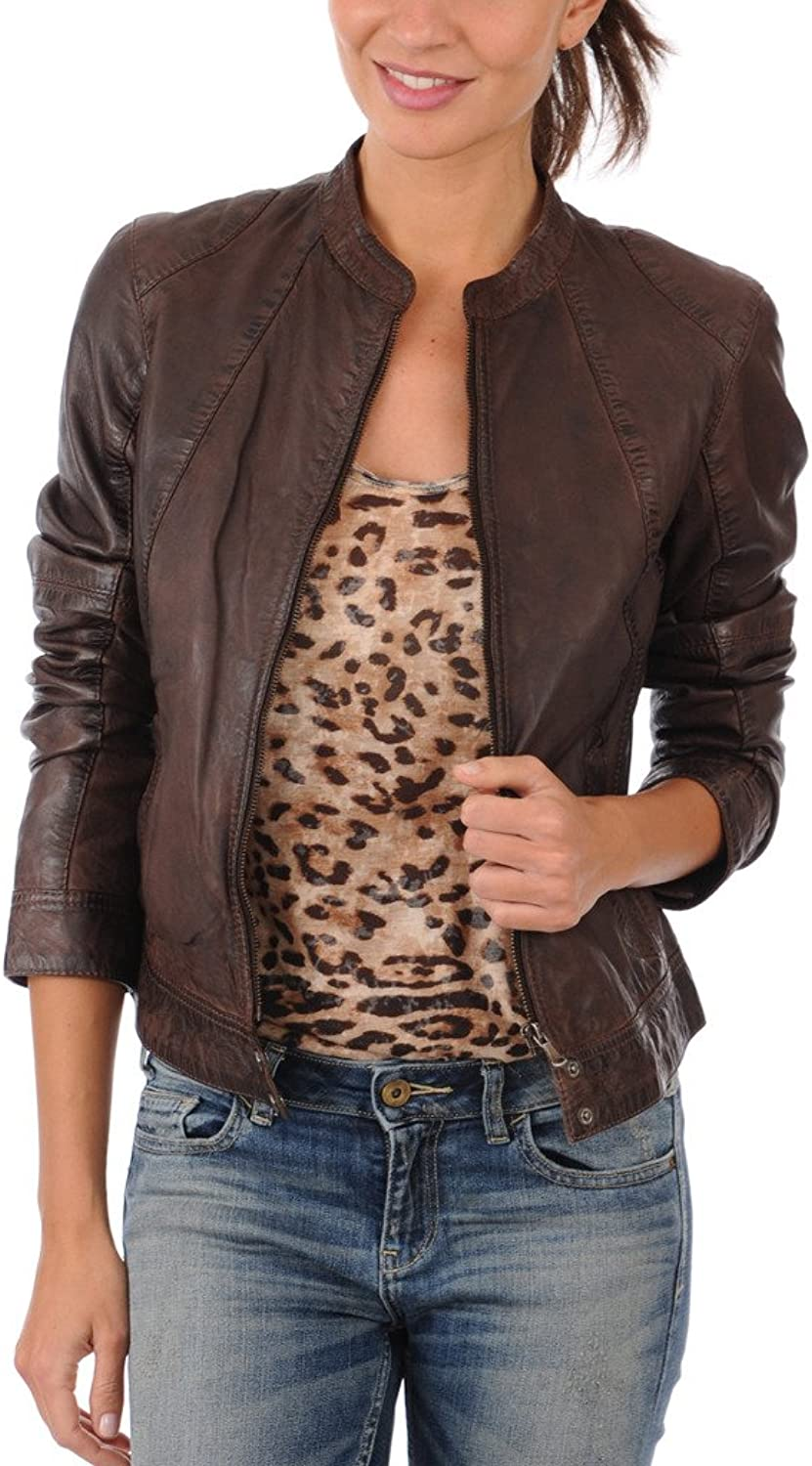 Captain Cory Womens Burnt Browny Lambskin Genuine Leather Jacket, Biker Jacket