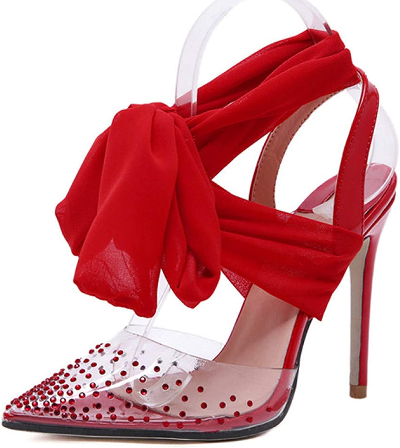 GHIJN High Heels New Women high Heels Sexy Pumps Stiletto Pointed Toe Party Ankle Strappy high Heels Red Black Ladies Wedding shoes