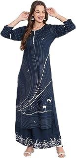 Bi Amma Women's Blue Printed Straight Fit Kurta And Flared Printed Palazzo Set