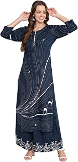 Bi Amma Women's Blue Printed Straight Fit Kurta And Flared Printed Palazzo Set
