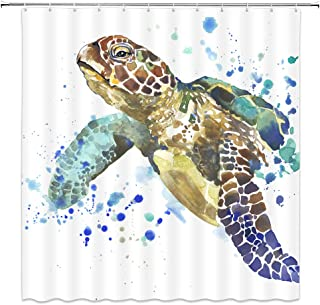 LIVEFUN Turtle Shower Curtain, Watercolor Sea Turtle Vivid Cute Antique Ocean Animal Bathroom Decoration Sets, 72 x 72 inches Fabric with 12 Hooks,White Blue